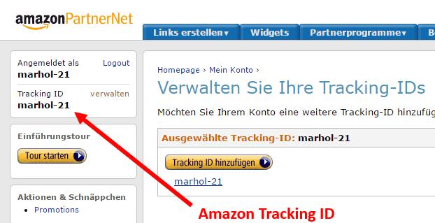 So finden Sie Ihre Amazon Tracking Id